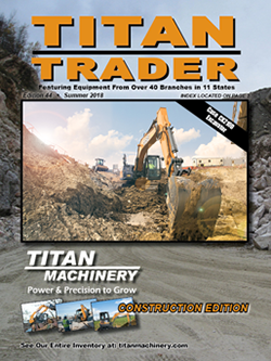 Front cover of Summer 2018 Construction Equipment Titan Trader magazine