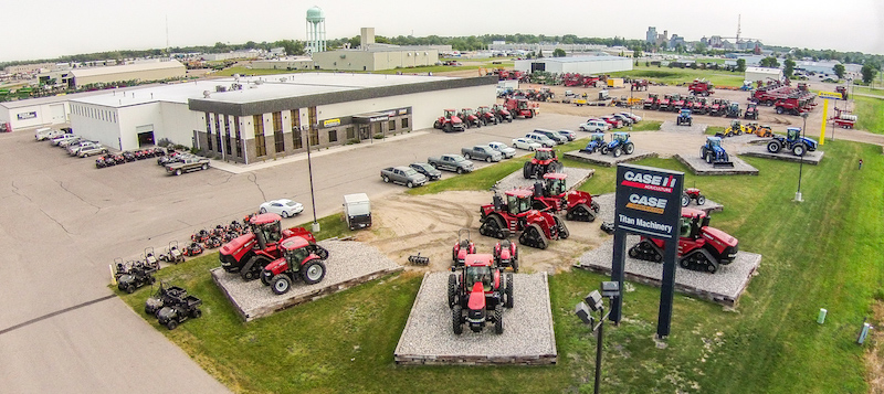 Aerial view of Titan dealership with Case IH, Case, and New Holland equipment