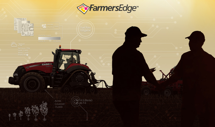 Two Farmers Edge precision technology users in field with Case IH Magnum