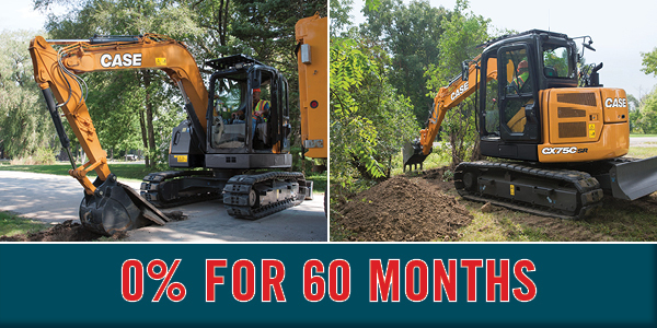 0% for 60 Months on New Case CE Midi Excavators